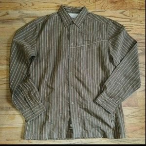 Kuhl Brown Striped Button Long Sleeved Shirt SZ M
